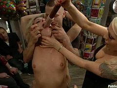 Salacious blonde Lorelei Lee is getting naughty with Mr. Pete and his friends. She lets the guys tie her up and enjoys their cocks in her mouth, pussy and butt.