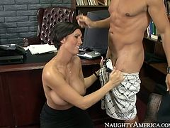 Horny boss Dylan Ryder loves young men so she loses control when she meets Pike in her office. She seduces him for sex by flashing her big silicon boobs. She gets down on her knees taking his penis out of jeans. She wraps hard dong with her mouth lips sucking deepthroat.