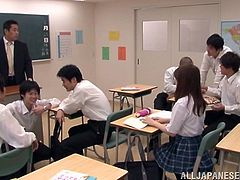 Petite schoolgirl is being balled by her classmates in MMF