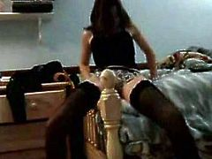This hot brunette teen takes her black stockings off and shows her moves in this sexy amateur vid. She definitely has an amazing booty!