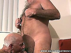 Two hot 60 year old daddies fucking each other bareback