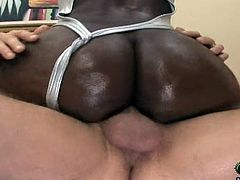 Salacious ebony chick Makana and her Gf show their butts to some man. Then they drive him crazy with a great blowjob and jump on his schlong by turns afterwards.
