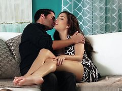 Nothings hotter than a sensual brunette babe wrapping her soft lips around a hard cock. Here's one and her name is Zarena! This sex bombshell is on the couch with her man and all it takes to make her horny is a some nipple sucking. That turned her on so how she opens her lustful mouth and begins to suck his cock