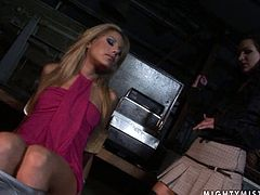 This blondie is securely tied to the wooden chair by horny bondage master and she has no idea what's going on. Make sure you don't miss this hot BDSM sex video.