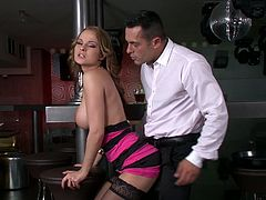 Gorgeous blonde chick gives nice blowjob and gets her pink pussy fingered in close-up scenes. Later on she lies down on a table and gets fucked.