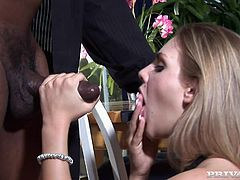 Stunning White girl in sexy dress stands on her knees and gets face fucked by a big cocked Black guy. After that she gets fucked in her tight ass.