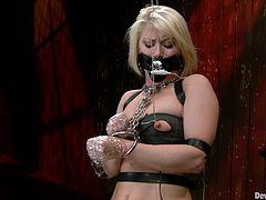 This booty and lusty blondie is in deep shit. Babe gets trapped in the bondage devices and at the end Ash Hollywood gets pinned in her twat with some tools.