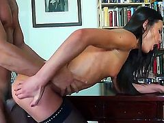 Leggy gal Nataly Gold stays in black stockings and high heeled shoes. The sweet-looking diva is going to get big throbbing penis penetrating deep into her mouth and then into twat.