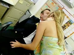 Cute blonde bitch Monika Sweetheart is having fun with a horny dude in his office. She gives him a terrific blowjob and then they have anal sex in the reverse cowgirl and other positions.