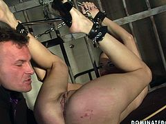This girl must have done something very bad to be locked in jail cell. Horny nympho gets her ass whipped hard by horny prison overseer. Then she lifts her legs up to let him lick her pussy properly.