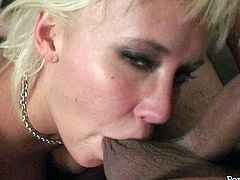 Sex insane blonde likes to polish dongs. She stands on her knees and guzzles meaty stiff cock. She licks balls and plays with his dick.