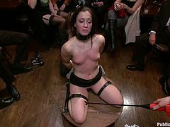 Horny brunette gets her vagina toyed in public. Later on this tied up chick gets double penetrated. So, watch and enjoy.