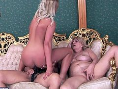 Kinky slim blondie is ready for lesbian threesome sex. Two fat pale and wrinkled blond old whores are ready to gain delight. They play with sex toys and eat wet pussies of each other right on the sofa.