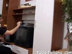 Italian milf suckles a throbbing meat pole