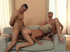 This young slut is not against of sharing her boyfriend with horny mature woman. Aged whore gets her pussy drilled hard doggy style. Check out this hot sex video now to see what else these salacious sluts are up to.