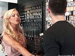 Naughty rich slut is horny as fuck. So she seduces Seth Gamble for hardcore sex. Spoiled blonde bitch gets punished hard from behind. This slut deserves to be screwed like trashy hoe.