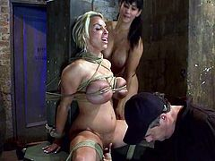 The big boobed blonde beauty Holly Halston is going to be tied up and severely toyed so she can be exhausted with forced orgasms.