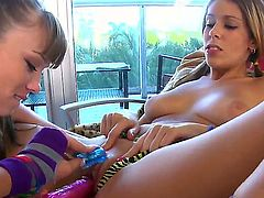 Threesome lesbo scene with Ashley Jane, Capri Anderson and Nikki Brooks would make you feel excited. Amazing girls are starting to lick and to play with dildos.