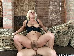 Lusty granny with hairy pussy is getting hammered bad in her clam from behind. She moans wild fucking passionately. Kinky porn clip brought to you by 21 Sextury.