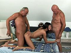 Lustful brunette doxy stands in doggy pose allowing a horny grey-haired dad pound her cunt from behind while giving blowjob to another wanker in peppering threesome sex orgy by 21 Sextury.