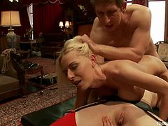What a threesome, man! Just click it and you'll see how blond babe with huge boobs is sucking a cock and licking a pussy. The scene contains some BDSM elements too!