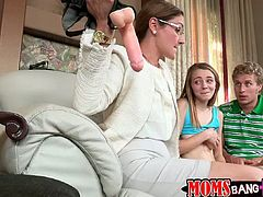 Hot MILF and teen girl give double blowjob to the guy. After that they rides a dick passionately. In addition MILF toys the teen with a strap-on.