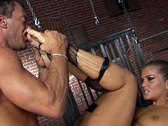 Gorgeous cutie Rita Faltoyano pleases some guy with a fantastic deepthroat blowjob. Then she takes his schlong into her ass and gets it smashed in missionary position.