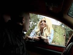 The blonde was picked by this guy. She's a real sweet chick and her red-neck girl outfit makes her look even hotter. The blonde gets inside the car, where she accidentally confuses the gear shifter with his big hard cock. Surely the cutie just wants to drive his car! She blows his cock there and in the house too