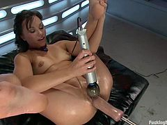Lecherous brunette Alysa is having some fun indoors. She pleases herself with anal fisting and then gets her holes pounded by a fucking machine.