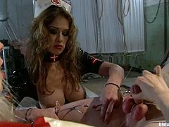 Felony and Lorelei Lee are gong to make a machine fuck this guy in this femdom session packed with bondage and torturing action.