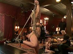 This BDSM scene features bunch of hot and submissive ladies willing to do really kinky things. Sluts get their huge tits tortured with pins and suspended in air as well.