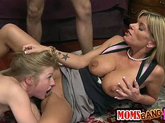 Avril Hall and her awesome GF are playing dirty games with some man indoors. They suck his dick devotedly and then welcome it in their juicy pussies.