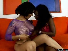 Welcome to enjoy bootylicious black dykes in Pornstar sex clip. Kinky black chick with nice big tits spreads legs wide and gets her wet soaking cunt licked by curvy brunette mulatto right on the couch.