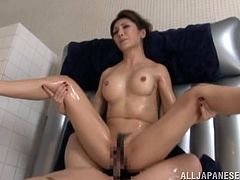 This naughty and kinky honey gets naked and starts staffing her wet beaver with that huge cock. She loves some slippery sex.
