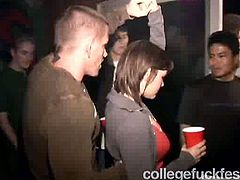 Spoiled curvaceous brunette is a spoiled and slutty college girl. This nympho with big boobies lures dude, takes him to the dorm room and sucks his tasty lollicock for gooey sperm.