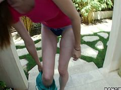 Delicious Russian amateur uses her baggy tits to rub hard cock in pov