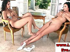 Eve Angel enjoys sensual feet worshipping with Jelena Jensen. Gorgeous hotties get buck naked and rub their sexy feet against each other.