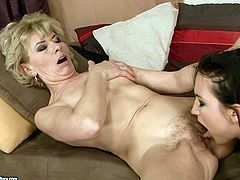 Kinky slender brunette is a great pro in pussy eating. This bitch licks the soaking mature cunt of fat ugly and old bitch. Then both horny lesbians get ready to fuck their cunts with dildos.