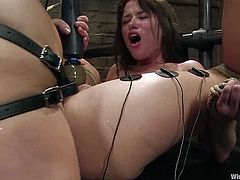 Harmony is dominating cute brunette Rebecca Blue in a basement. Harmony puts the hottie into irons, then humiliates her and slams her nice pussy with a dildo.