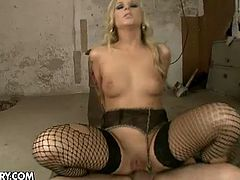 Check the vicious blonde slut Barbie White getting wearing black fishnet stockings while getting her amazing ass drilled balls deep into ecstasy. Then it's time for her mouth to be filled with fresh cum.
