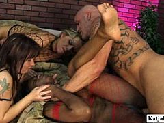 This horny dude has to work hard to satisfy three insatiable lesbians. He fucks one babe and enjoys watching lesbian orgy. You are welcome here to be pleased with hot and steamy group sex video for free.