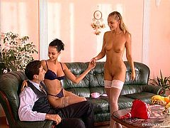 Two sexy and lusty babes are having a small party in the office. Unfortunately, most of the staff are absent. But that creates perfect conditions for a nice threesome!