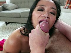 Slutty Asian mom Luckystar is playing dirty games with some dude indoors. She plays with his short cock and then shows her ass licking skills to the man.