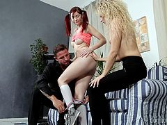 This cute redhead gets her young pussy licked by her friend's mom, and her friend's mom gets fingered by her husband. She has never experience anything like this before! She moans as her cunt is licked by the milf.