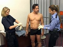 Gary is in prison. Prison guards Kristen and Bettie make him strip naked to ensure he is not hiding any contraband. He takes of his underwear to reveal his dick. They put him behind bars and jerk him off for his awful deeds.