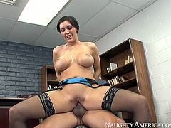 Sex greedy Asian tourist calls up a bosomy brunette prostitute over at his hotel room. She arrives wearing blue satin lingerie and stockings. She climbs on him for a ride reverse before shaking her tits like melons.