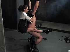 Orlando is getting naughty with Princess Donna Dolore in BDSM scene. Donna beats his ass with a lash and then attaches leads to his cock.