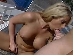 Sexy blonde Brooke Haven gives a fantastic blowjob to some guy. Then she takes his wang into her pussy and they bang doggy style on a beach chair.