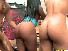 Imani Rose and her girlfriend are two smoking hot ebony ladies with incredible asses. Watch this hardcore video where they teem up and share a monster cock that leaves their booties covered by cum.