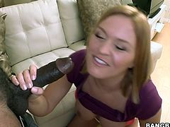 Check out this blonde's great ass and perfectly round and big tits in this interracial video where she tries out a monster black cock.